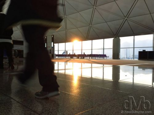 Sunrise as seen from inside Hong Kong International Airport. January 17th 2013