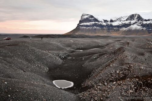 Surveying the volcanic desolation at Myrdalssandur, southern Iceland. December 4th 2012 (20mm, 1/40sec, f/5.6, iso125)