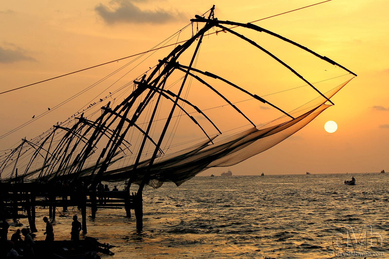 Chinese fishing nets at the tip of Fort Cochin at sunset, Kerala, India. September 19th, 2012 (EOS 60D || Canon 70-300mm || 70mm, 1/250sec, f/5.6, iso100)