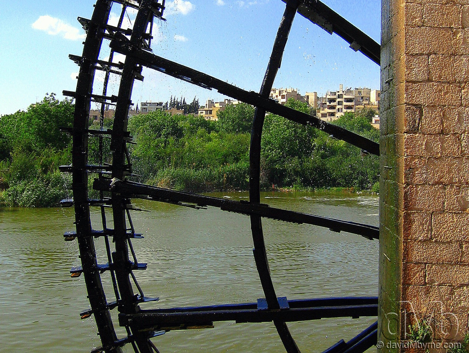 One of the 17 remaining norias ('wheels of pots') on the Orontes river in Hama, Syria. May 6th, 2008.