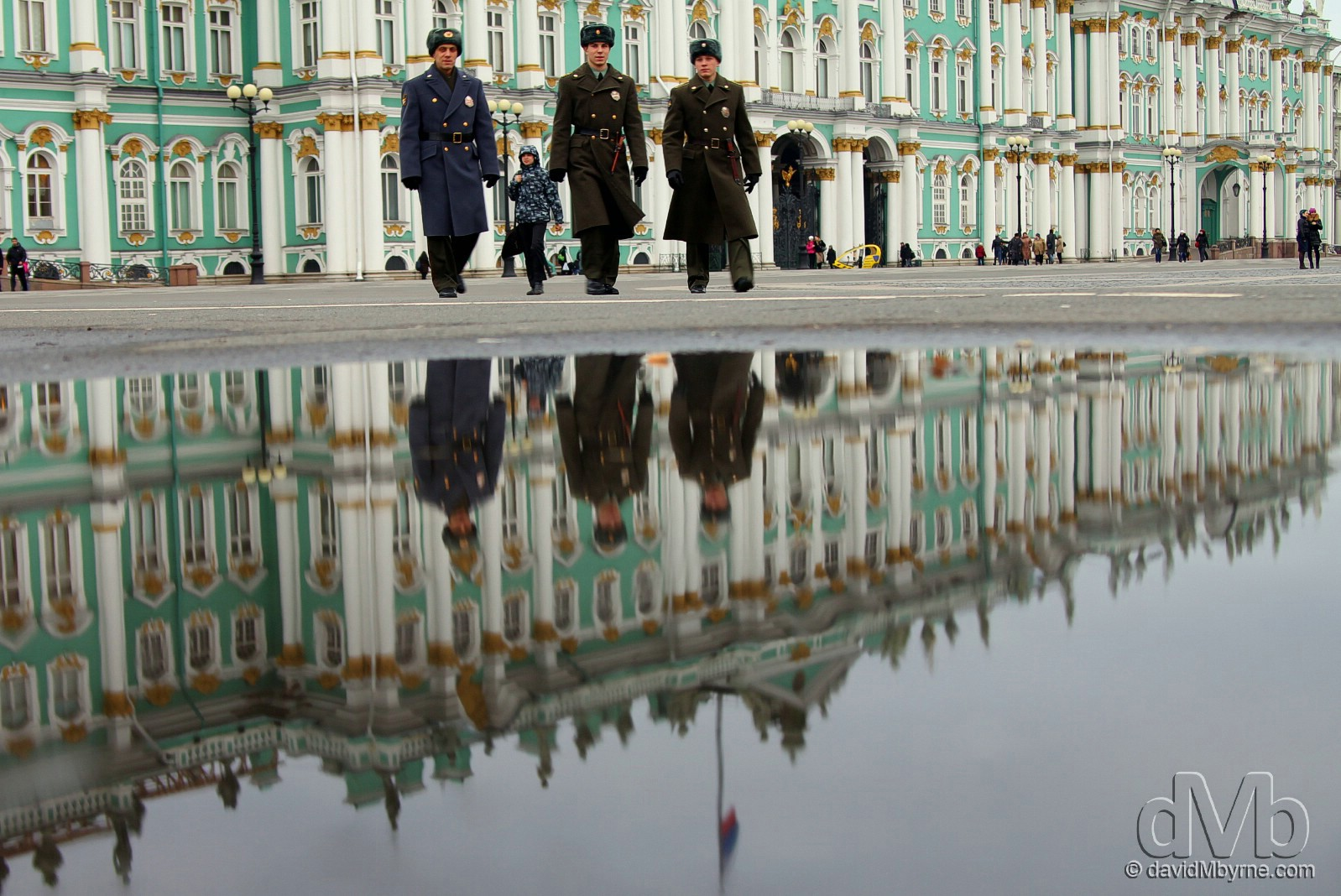 Reflections of the facade of the Winter Palace in  Palace Square, St Petersburg, Russia. November 2012 (EOS 60D ||